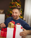 Happy man received presents Royalty Free Stock Image