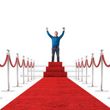 Happy man. And red carpet royalty free stock images