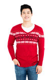 Happy man in red pullover smiling at camera. Portrait of a happy man in red pullover smiling at camera on white background Stock Photos