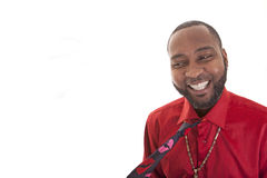 Happy man in red shirt Royalty Free Stock Photography