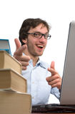 Happy man is rejoice in front laptop Royalty Free Stock Images