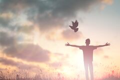 Free Happy Man Rise Hand Worship God In Morning View. Christian Spirit Prayer Praise On Good Friday Background. Male Self Confidence Royalty Free Stock Images - 187209499