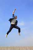 Happy man run and jump Royalty Free Stock Images