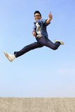 Happy man run and jump Royalty Free Stock Photography