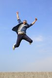 Happy man run and jump Royalty Free Stock Image