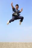 Happy man run and jump Royalty Free Stock Photography