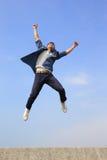 Happy man run and jump Royalty Free Stock Photo