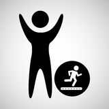 happy man with running icon Royalty Free Stock Photography