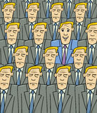Happy man in the sad crowd. Cartoon Concept Illustration of Happy Man or Businessman in the Crowd of Sad or Serious People Stock Images
