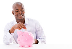Happy man saving money Royalty Free Stock Images