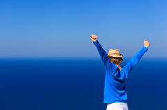 Happy man on sea vacation. Happy young man on sea vacation, holiday concept royalty free stock image