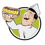Happy man is serving a german bratwurst. Illustration of a happy man is serving a german bratwurst Stock Image