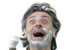 Happy man with shaving brush Stock Photo