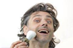 Happy man with shaving brush Stock Photography
