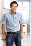 Happy man in shirt and jeans Stock Images