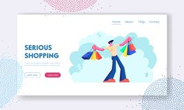 Happy Man with Shopping Bags. Buyer Have Fun Doing Shopping. Seasonal Sale, Discount, Shopaholic with Purchases in Paper Packs. Website Landing Page, Web Page stock illustration