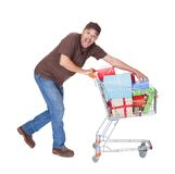 Happy Man With Shopping Cart Stock Image