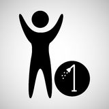 Happy man with shower silhouette icon Stock Photos