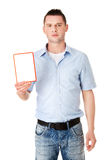 Happy man showing and displaying placard Stock Photo