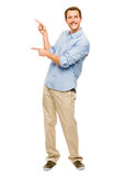 Happy man showing empty copy space portrait white background Royalty Free Stock Photo
