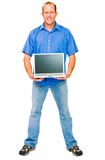 Happy man showing laptop royalty free stock photo
