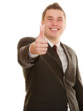 Happy man showing thumb up hand gesture Royalty Free Stock Images