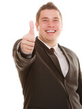Happy man showing thumb up hand gesture Royalty Free Stock Photos