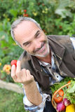 Happy man showing tomatoes from garden Stock Images