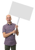 Happy man showing white blank banner Royalty Free Stock Photo