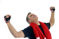 Happy Man Showing Winning Gesture Royalty Free Stock Photography