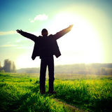 Happy Man Silhouette Stock Photo
