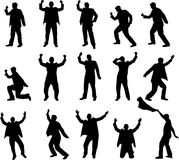 Happy man silhouettes Stock Photo
