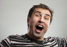 Happy man singing or shouting Royalty Free Stock Images