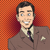 Happy man smiling businessman entertainer artist pop art comics vector illustration