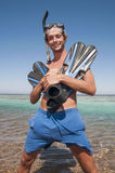 Happy man with snorkel mask and finns Stock Photos