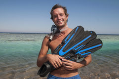 Happy man with snorkel mask and finns Royalty Free Stock Photos