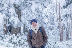 Happy man with snow world royalty free stock photography