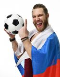 Happy man soccer fan wearing Russian flag and show number one winning finger smiling celebrating Stock Photo