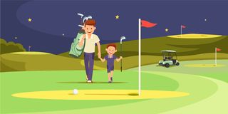 Happy Man with Son Golfers Walking on Perfect Golf royalty free illustration