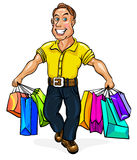 Happy man spectacled with packages in hand Stock Image