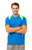 Happy Man In Sportswear Standing Arms Crossed Royalty Free Stock Images