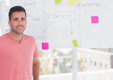 Happy man standing in front of whiteboard Royalty Free Stock Images