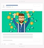 Happy man standing under  flying money. Social media post. Stock Image