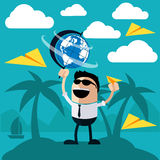 Happy man stands on island of palm trees. Happy man stands on an island of palm trees holding globe and launches paper airplanes cartoon flat design style Stock Photography