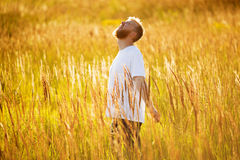Happy man stands among the meadow grass Royalty Free Stock Photos