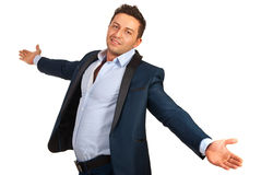 Happy man with stretched hands Stock Images