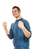 Happy man successful with arms up clenching fist. Success positive emotions. Happy young man successful lad with arms up clenching fist isolated on white Stock Photo