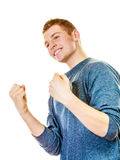 Happy man successful with arms up clenching fist. Success positive emotions. Happy young man successful lad with arms up clenching fist isolated on white Royalty Free Stock Image