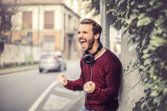 Happy man. Successful man expressing his joy Stock Image