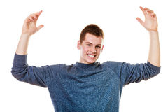 Happy man successful lad with arms up Stock Photo